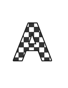 Chequered Lettering (upper/lowercase, cursive, numbers, sh