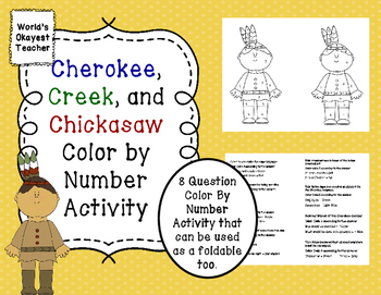 Cherokee, Creek, and Chickasaw: Color By Number Activity