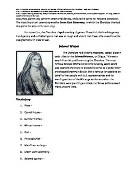 Cherokee Indians nonfiction passage and comprehension