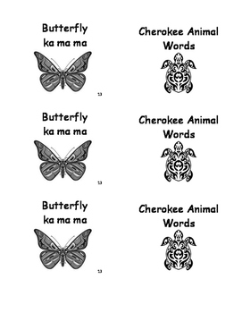 Cherokee Language Animal Words Book