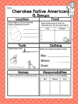 Cherokee Native American Graphic Organizer