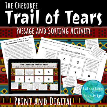 Cherokee Trail of Tears Reading Passage and Timeline Sort