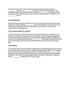 Cherokee Tribe ~ CLOZE Reading