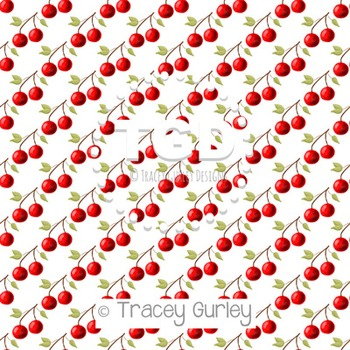 Cherries on White digital paper Printable Tracey Gurley Designs