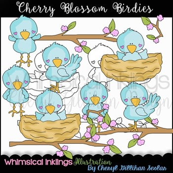 Cherry Blossom Birdies Clipart Collection