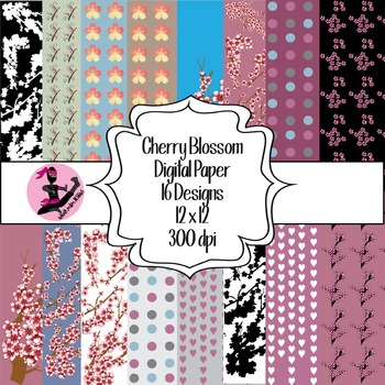 Cherry Blossom Digital Paper Pack- 16 Designs