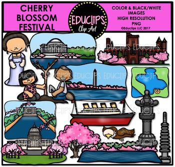 Cherry Blossom Festival Clip Art Bundle {Educlips Clipart}