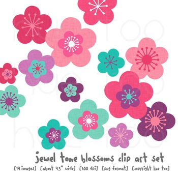 Cherry Blossom Flower Clip Art, Pink, Magenta, Teal, Turquoise, Blue, Purple