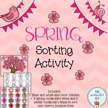 Cherry Blossom Spring Sorting Activity-Spring/Winter Categories