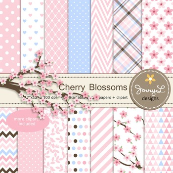 SET: Cherry Blossoms Digital Paper and Clipart, Sakura Flowers