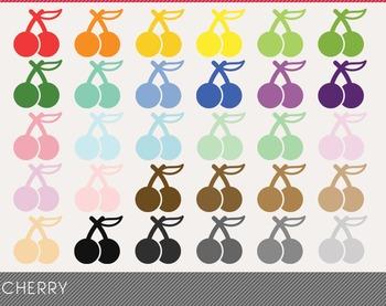 Cherry Digital Clipart, Cherry Graphics, Cherry PNG, Rainbow Cherry Digital