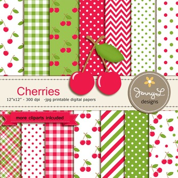 Cherry Digital Paper and clipart