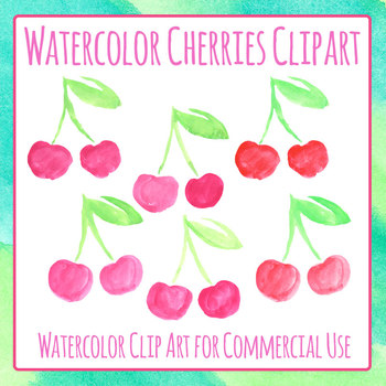 Cherry Handpainted Watercolor Clip Art Set for Commercial Use