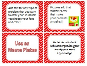 Cherry Red Chevron Task Card/Scoot Card Templates