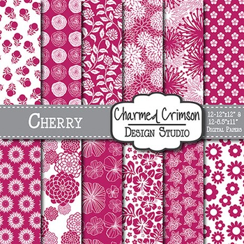 Cherry Red Floral Digital Paper 1472