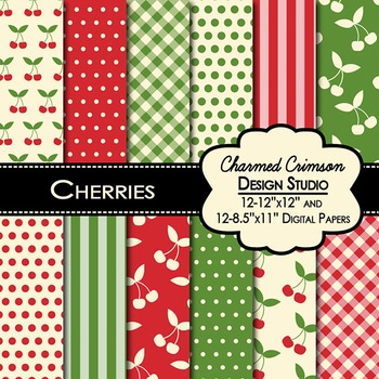 Cherry Red and Green Digital Paper 1056