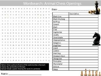Chess Animal Openings Wordsearch Puzzle Sheet Keywords Strategy Board Game