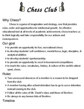 Chess Club syllabus