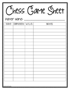 Chess Game Sheet and Data Log