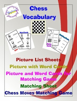 Chess Pieces Vocabulary Word Cards, Matching Game, Lists, and Matching Worksheet