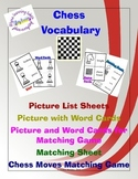 Chess Pieces Vocabulary Word Cards, Matching Game, Lists,