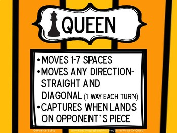 Chess- Rules for Each Piece & Set Up {Bulletin Board AND Student Set}