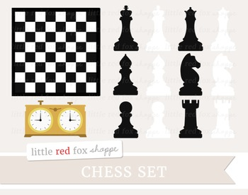 Chess Set Clipart; Game, Board, Piece, Clock