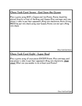 Chess Task Cards and Chess Etiquette Sheet