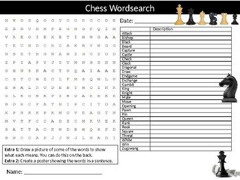 Chess Wordsearch Sheet Starter Activity Keywords Cover Board Games