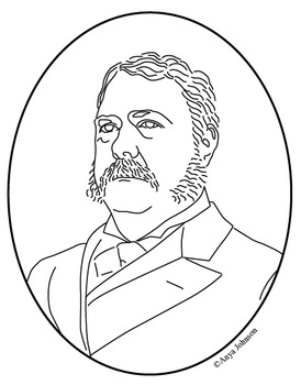Chester A. Arthur (21st President) Clip Art, Coloring Page or Mini Poster