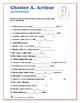 Chester Arthur - Presidents Word Search and Fill in the Blanks