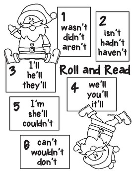 Santa Roll and Read contractions 'm, 'll, n't