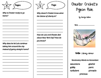 Chester Cricket's Pigeon Ride Trifold - Storytown 5th Grade Unit 5 Week 4