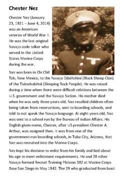 Chester Nez  - Navajo Code Talker Handout