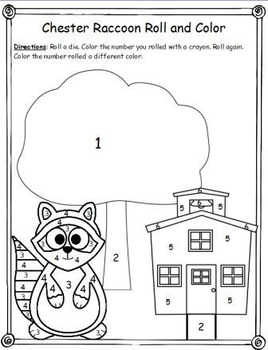 Chester Raccoon Roll and Color Activeboard Activity (K.CC.4)