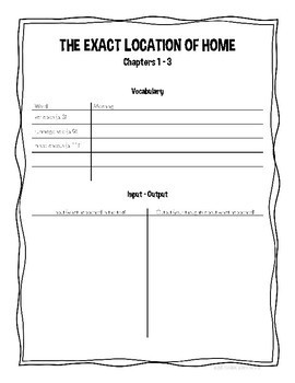 The Exact Location of Home by Kate Messner Novel Study/Literature Circle Guide