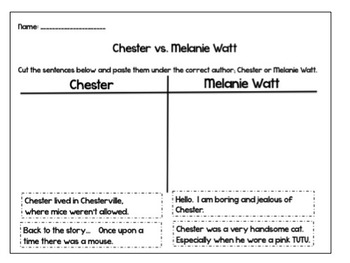 Chester by Melanie Watt Point of View Follow Up Activities & Book