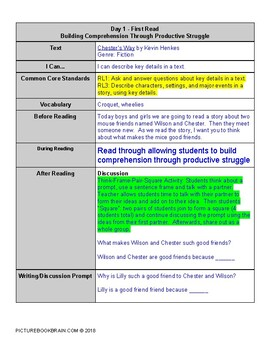Chester's Way by Kevin Henkes 4-5 Day Lesson Plan