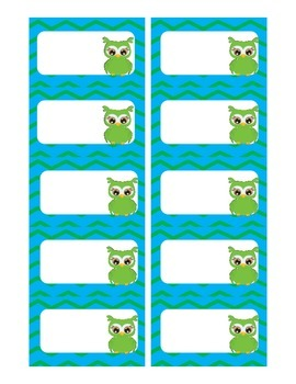 Chevron Owl Business Card Labels