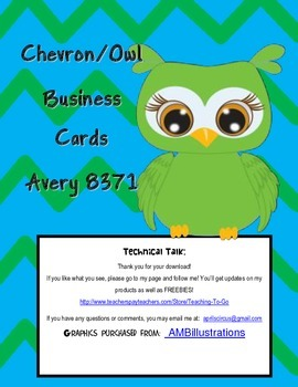 Chevron Owl Business Card Labels