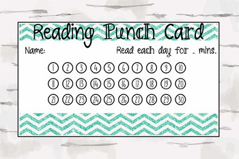 Chevron Reading Punch Card, Reward Card, Classroom material, pdf