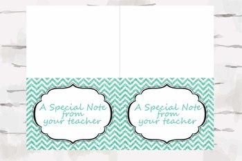 Chevron Teacher note, Teacher Stationary, pdf and jpg