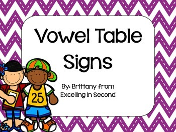 Chevron Vowel Table Signs