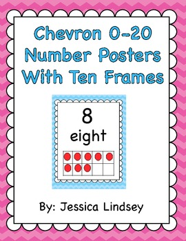 Chevron 0-20 Number Posters w/ Ten Frames