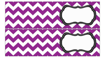 Chevron Labels for 10-Drawer Organizer (Purple and Black)