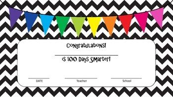 Chevron 100th Day of School Certificate