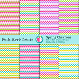 Spring Chevron Digital Papers Set: Graphics for Teachers