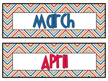 Chevron 12 Month Calender Cards {creative teaching press chevron}