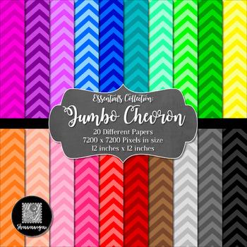 12x12 Digital Paper - Essentials: Jumbo Chevron (600dpi)