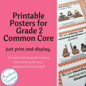 Classroom Decor Chevron 2nd Grade Common Core Standards Posters BUNDLE